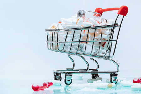 shopping cart with medicines. photo with a copy-space.