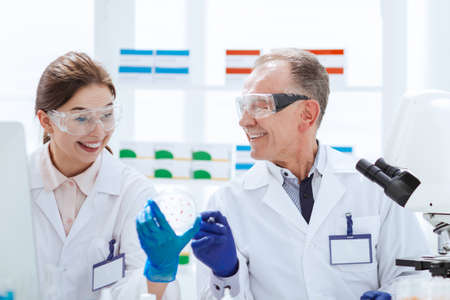 smiling scientists with a Petri dish sitting at a laboratory table. Stock fotó