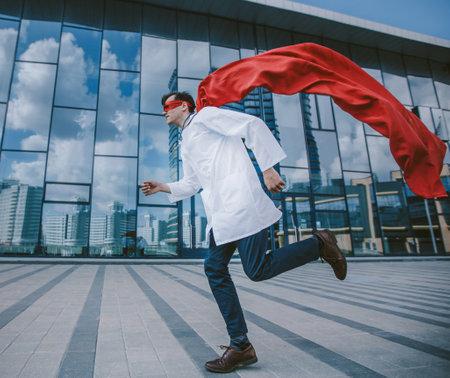 medic superhero hurries to the sick city resident.