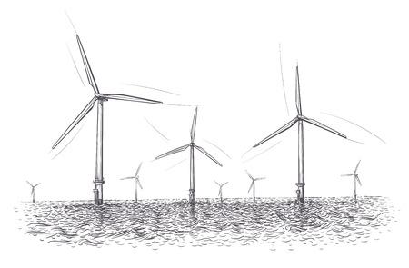 Ilustración de la granja de energía eólica marina. Dibujado a mano. Vector.