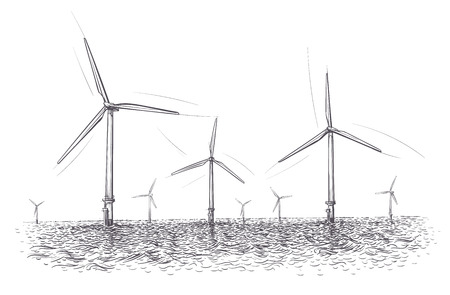 Offshore wind energy farm illustration. Hand drawn. Vector.