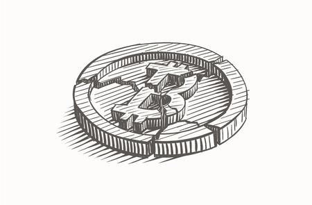 Broken Bitcoin coin, hand drawn, vector.