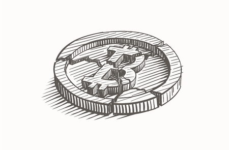 Broken Bitcoin coin, hand drawn, vector.
