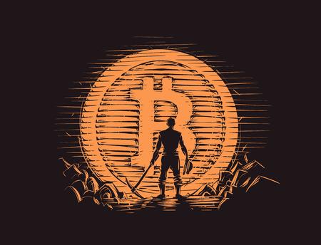 Bitcoin miner standing near big bitcoin coin. Vector. Stock Illustratie