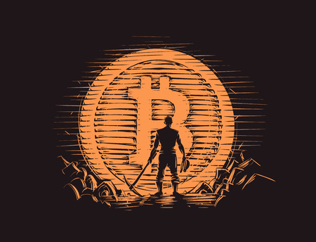 Bitcoin miner standing near big bitcoin coin. Vector. Illustration