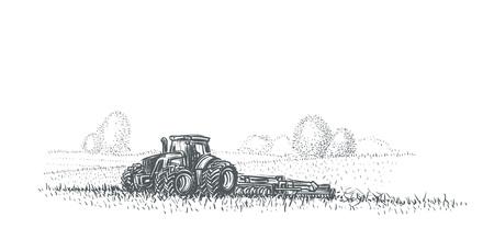 Tractor working in field illustration. Vector. eps 10. Stock Illustratie