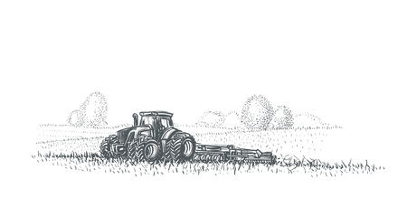 Tractor working in field illustration. Vector. eps 10. Illustration