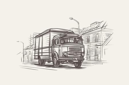 Retro Delivery Truck Illustration. Hand drawn, vector, eps 10. Stock Illustratie