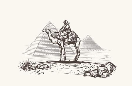Man on camel in desert near pyramids vector illustration. Stock Illustratie