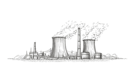 Nuclear power plant hand drawn sketch vector illustration. Stock Illustratie
