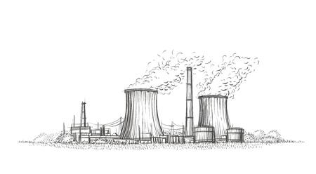 Nuclear power plant hand drawn sketch vector illustration. 矢量图像
