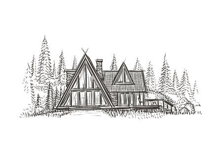 Modern cottage house hand drawn illustration.