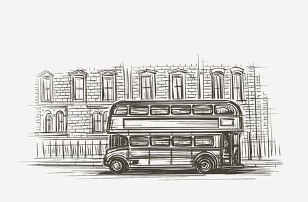 Old London bus double decker hand drawn illustration vector illustration.