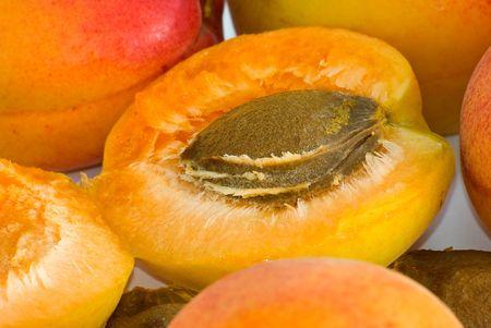 Apricot nucleus are photographed close-up  Фото со стока