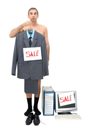 The requiring businessman sells technics of office and the him clothes