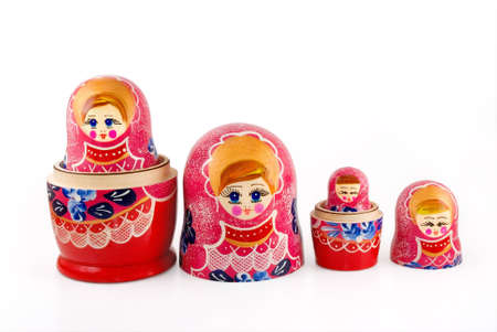 nested: Russian nested doll are photographed on white Stock Photo