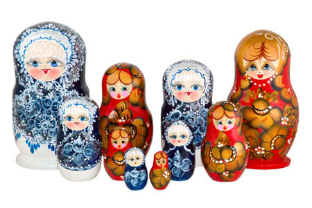 nested: The Russian nested dolls is photographed on white