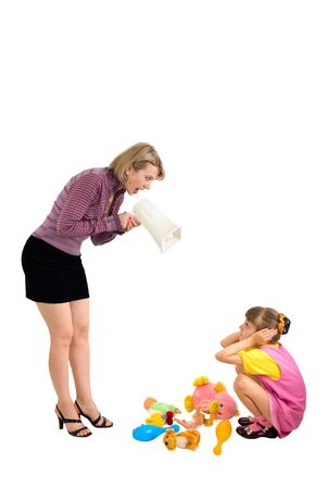 Mother shouts at the daughter in a megaphone