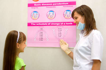 The dentist shows the little girl the poster with the schedule of change of a teeth