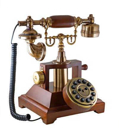 Ancient phone is photographed on the white background Stock Photo