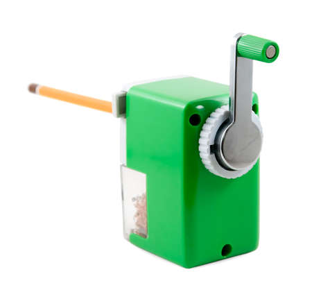Pencil-sharpener is photographed on the white background Stock Photo