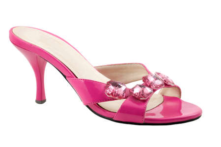 heel strap: The pink shoe are photographed on the white background