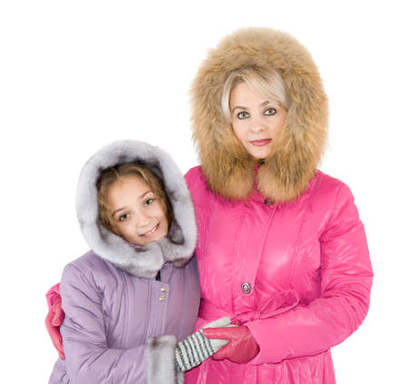 fur hood: Mum and daughter are photographed in the wintry coats
