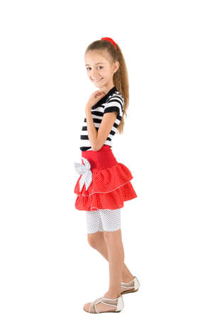 The girl in the red skirt and striped blouse photo