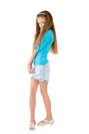 Girl in the blue blouse on the white background