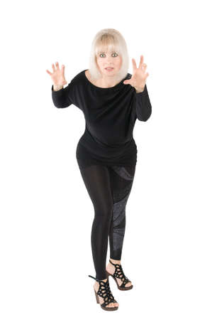 The blonde in a black suit on the white background Stock Photo - 17416493