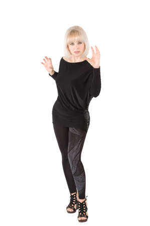 The blonde in a black suit on the white background Stock Photo - 17416491