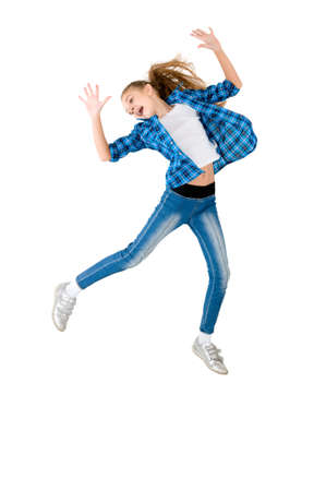 The girl in a jump on the white background photo