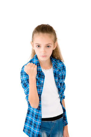 The girl is angry on the white background Stock Photo - 17500035