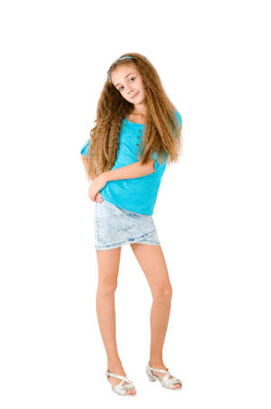 denim skirt: Girl in the blue blouse on the white background