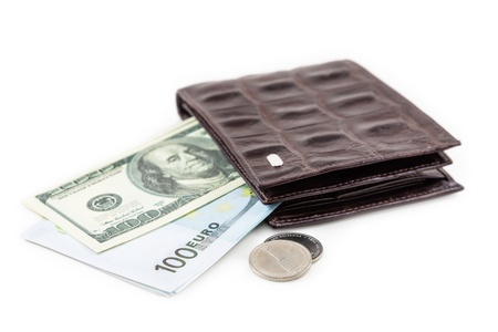 The brown  leather wallet with euro and dollar is photographed on the close-up Stock Photo - 21193003