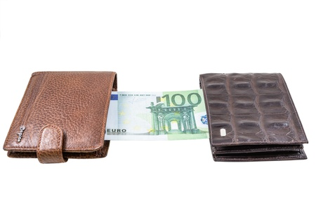 The two brown  leather wallet with euro is photographed on the close-up Stock Photo - 21193132