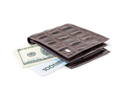 The brown  leather wallet with euro and dollars is photographed on the close-up Stock Photo - 21606307