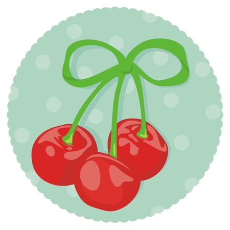Three Cherries Wrapped as Gift Stock Vector - 11871603