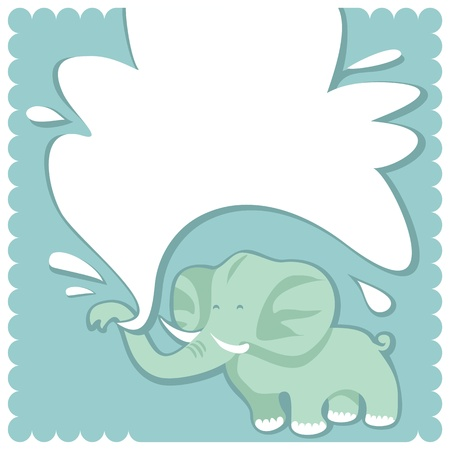 baby elephant: Greeting card template for baby boys