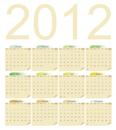 2012 Calendar  in pastel colors Vector