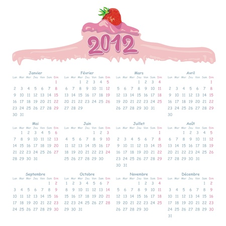 2012 French Calendar with gourmet style header Vector