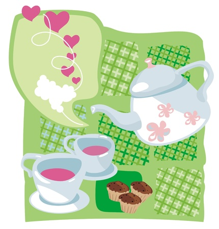 Tea time on Valentines Day Vector