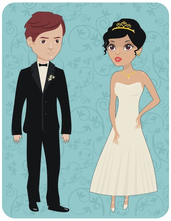shiny suit: Groom and bride in their wedding day Illustration