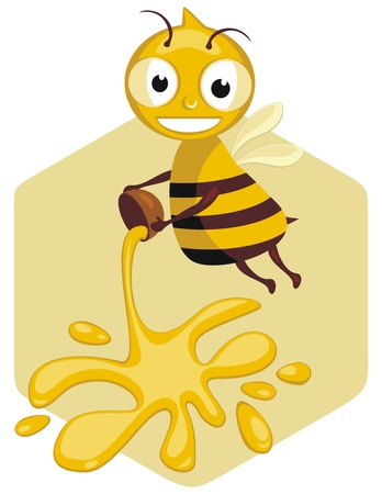 Happy honey bee cartoon Vector