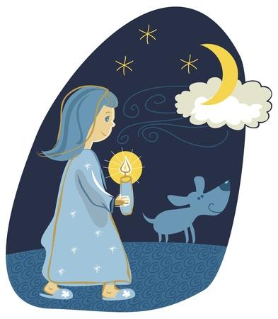 nocturne: Little girl taking a candlelight walk Illustration