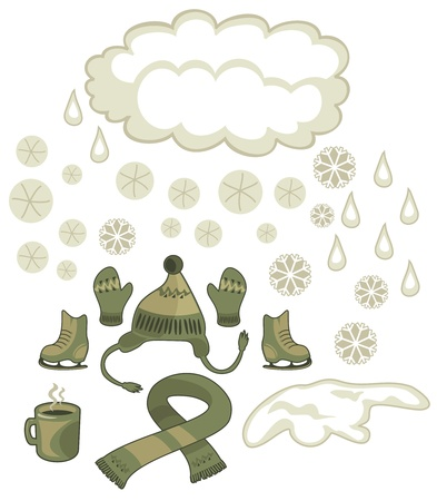Winter weather and seasonal outdoor accessories set Vector