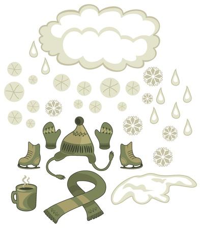 winter solstice: Winter weather and seasonal outdoor accessories set