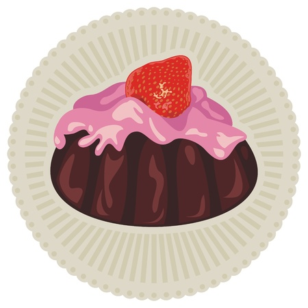 Strawberry dessert with pudding and chocolate cake Vector