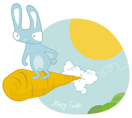 Sky surfing Easter bunny on a giant carrot Vector