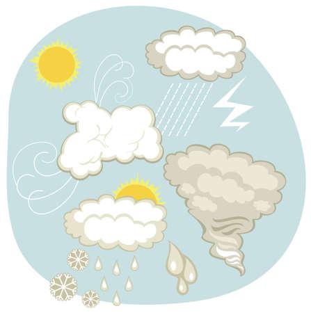 atmospheric phenomena: Weather set with various clouds and atmospheric phenomena Illustration